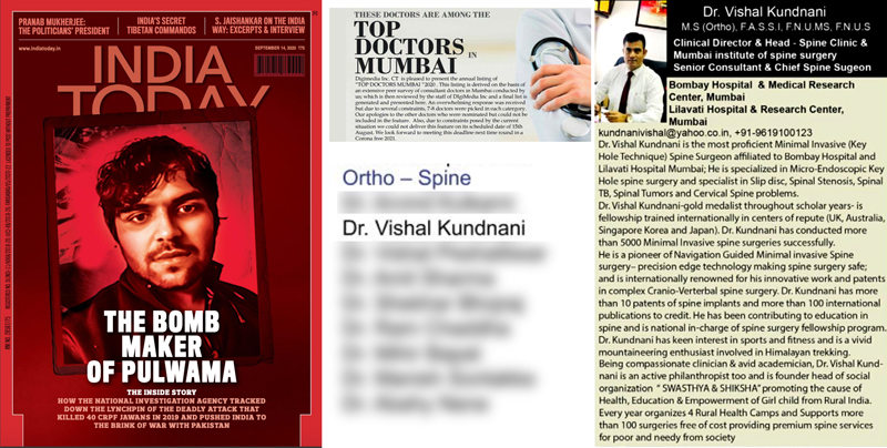 Featured in Top Doctors in Mumbai, India Today edition Sept. 2020